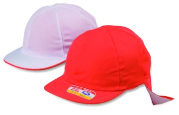 #20-T ニット紅白体操帽 タレ付(六方型・アゴゴム付)