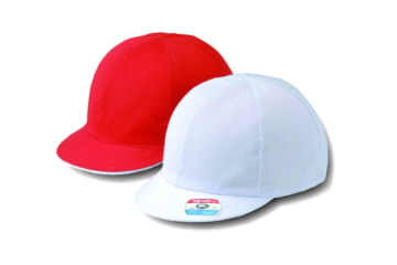 #24 ツイル紅白体操帽 六方型(アゴゴム付)